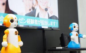 Sota(ソータくん)は大画面ディスプレイと連動してプレゼンテーションすることもできます。